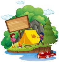 Cartello in legno dietro il campeggio vettore