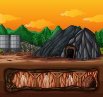 Una miniera e una scena sotterranea