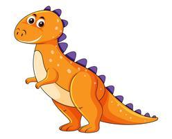 Simpatico personaggio di dinosauro arancione vettore