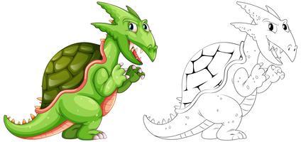 Animale da disegno per drago con conchiglia