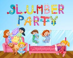 Ragazza divertendosi al pigiama party in camera da letto