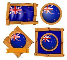 Bandiera della Nuova Zelanda su distintivi rotondi e quadrati