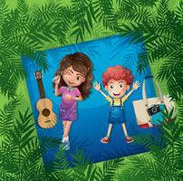 Due bambini su un tappeto