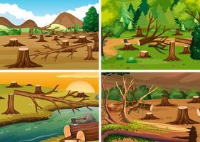 Quattro scene di deforestazione vettore
