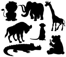 Set di animali selvatici sagoma vettore