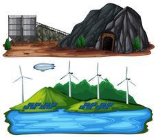 Una serie di centrali elettriche naturali vettore