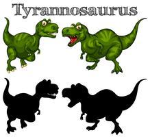 Tirannosauro e silhouette su sfondo bianco