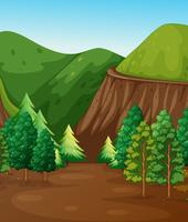 Scena di sfondo con foreste e montagne