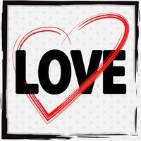 Font design per amore con cuore rosso