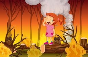 Una ragazza che piange nella foresta wildfire vettore