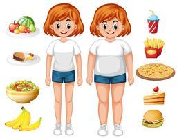 Donna in forma e sovrappeso con il cibo vettore