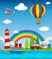 Scena con carro e altri trasporti in riva al mare
