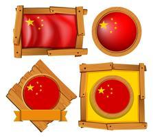 Bandiera della Cina in diversi disegni del telaio