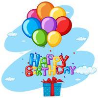 Tema di buon compleanno con presente e palloncini vettore