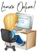 La frase impara online con la ragazza che lavora al computer vettore