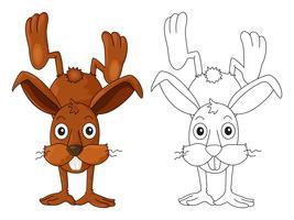 Scarabocchi disegnando animali per coniglio carino vettore
