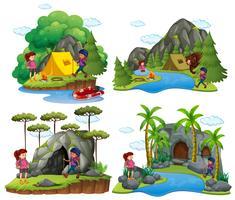 Quattro scene di persone accampate in luoghi diversi