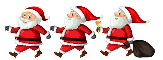 Un set di Babbo Natale con diverse azioni vettore