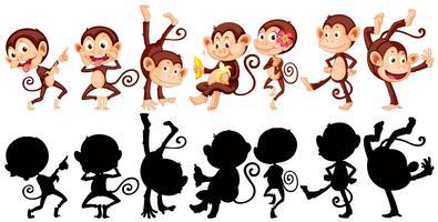 Scimmie in molte azioni vettore