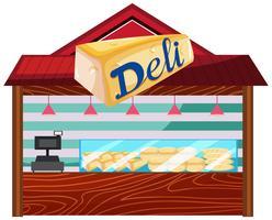 Un negozio di panetteria su sfondo bianco