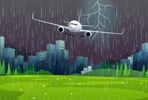 Aereo in volo sotto la pioggia vettore