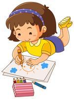 Bambina disegno sole su carta vettore