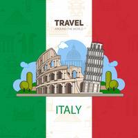 Punti di riferimento italiani, architettura storica, sullo sfondo della bandiera con sfondi senza soluzione di continuità. vettore
