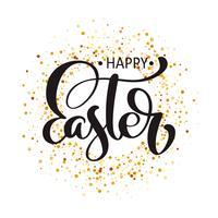 """""""Happy Easter"""" testo disegnato a mano calligrafia vettore"""