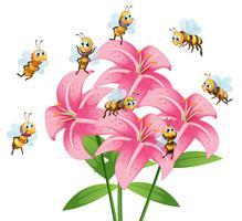 Molte api che volano intorno al fiore di giglio vettore