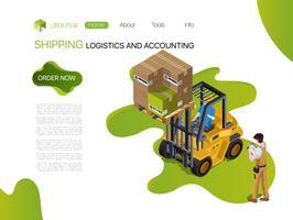 Smistamento merci Magazzino industriale con caricatore, servizio cargo. Contabilità della logistica di spedizione Tecnologia di smistamento dei prodotti. vettore