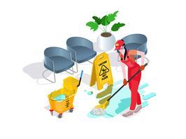 La donna vestita in uniforme lava il pavimento in ufficio e pulisce. Servizio di pulizia professionale con attrezzatura e personale.