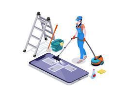La donna vestita in uniforme elimina i file dai dispositivi mobili. pulizia e aspirapolvere, il telefono. vettore