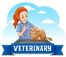 Veterinario che guarisce animali della fauna selvatica vettore