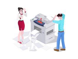 L'uomo 3d isometrico e una donna nell'ufficio stampano e fanno una fotocopiatrice sulla stampante. vettore