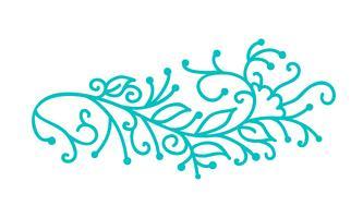 La gente scandinava turchese di monoline fiorisce con foglie e fiori vettore