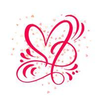 Illustrazione vettoriale di amore segno del cuore. Simbolo romantico legato, partecipazione, passione e matrimonio. Design piatto elemento del giorno di San Valentino. Modello per t-shirt, carta, poster