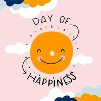 Carino sole sorridente con nuvole al giorno di felicità vettore