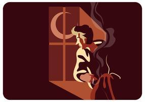 Stressato uomo con il suo fumo Vector