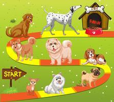 Modello di gioco con molti cani nel campo