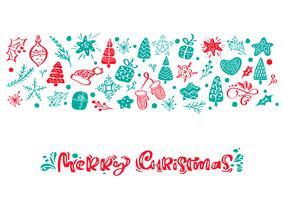 Testo di lettering calligrafia di vettore di buon Natale. Biglietto di auguri scandinavo di Natale. Illustrazione disegnata a mano di un simpatico divertente inverno elementi. Oggetti isolati