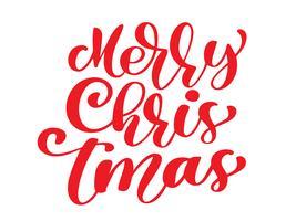 Buon Natale testo vettoriale vintage rosso. Modello di carta di disegno di iscrizione calligrafica. Tipografia creativa per poster regalo di auguri di vacanza. Insegna di stile di fonte di calligrafia isolata su fondo bianco