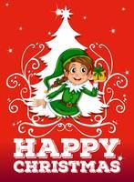 Tema natalizio con elfo e presente