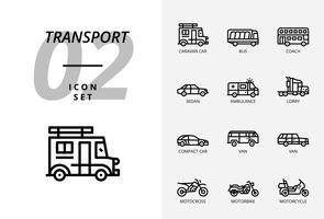 Icon pack per trasporto e veicoli. Stile di linea.
