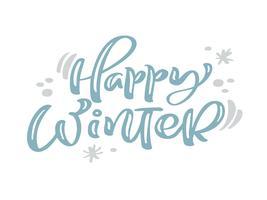 Testo di vettore dell'iscrizione di calligrafia dell'annata di Natale blu felice di inverno con la decorazione del disegno di inverno. Per il design artistico, stile brochure mockup, copertina idea banner, volantino stampa opuscolo, poster