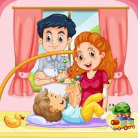 Famiglia con bambino a casa