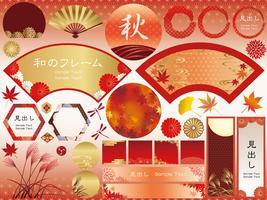 Set di cornici assortite in stile giapponese ed elementi grafici per la stagione autunnale.
