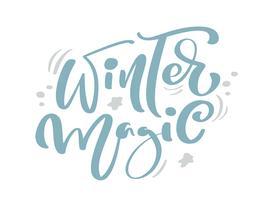 Testo di vettore dell'iscrizione di calligrafia dell'annata di Natale blu magico di inverno con la decorazione del disegno di inverno. Per il design artistico, stile brochure mockup, copertina idea banner, volantino stampa opuscolo, poster