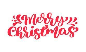 Modello di carta di disegno di lettering calligrafico di buon Natale testo vettoriale rosso. Tipografia creativa per poster regalo di auguri di vacanza. Banner stile font calligrafia