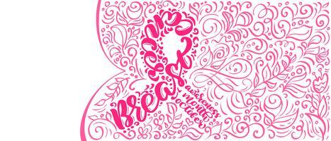 Nastro rosa stilizzato con citazione di vettore Breast Canser per ottobre è mese di consapevolezza del cancro Calligrafia lettering illustrazione Poster Design isolato su sfondo bianco