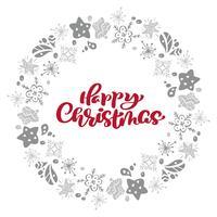 Testo di vettore di calligrafia di Buon Natale nella struttura della stella degli elementi di natale della corona. Design di lettering in stile scandinavo. Tipografia creativa per poster regalo di auguri di vacanza